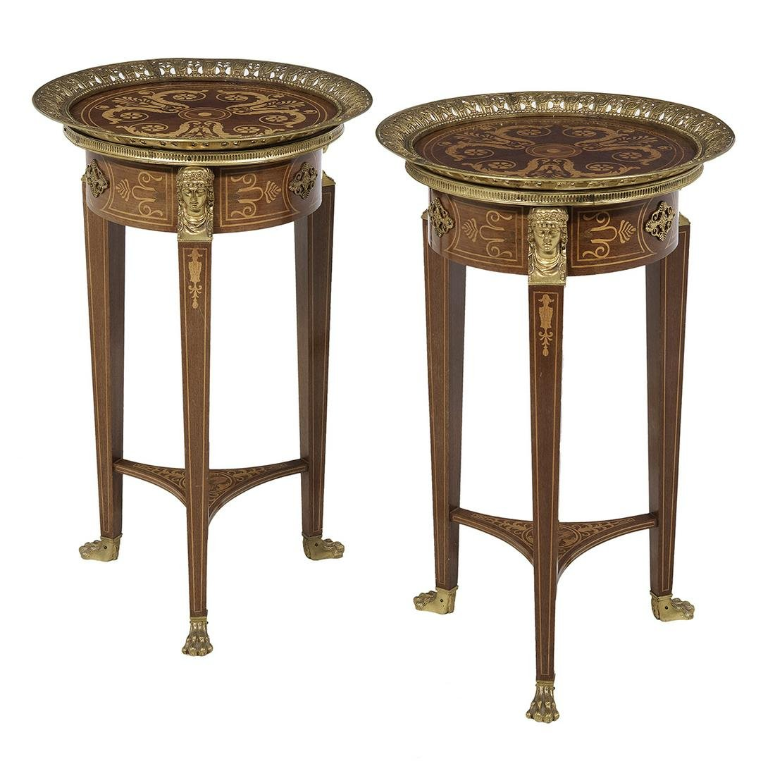 Pair of Empire-Style Mahogany Occasional Tables