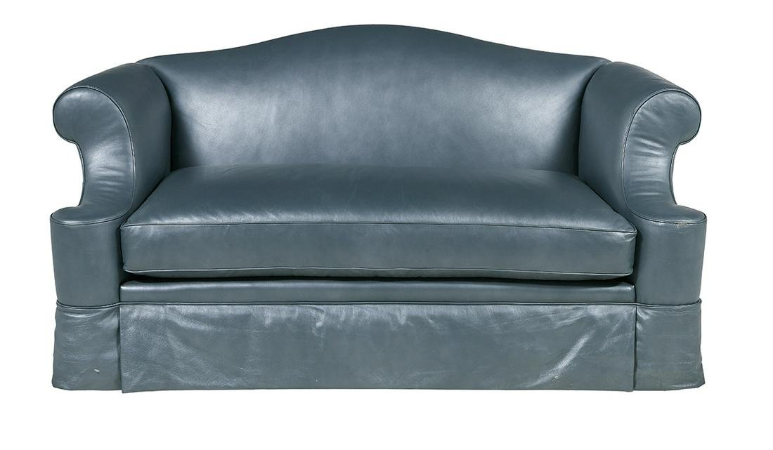 Contemporary Leather Camelback Sofa