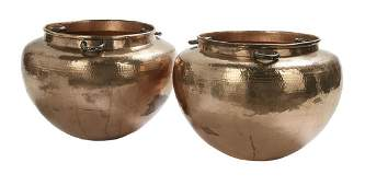 Pair of Emilia Castillo Hammered Copper Pots