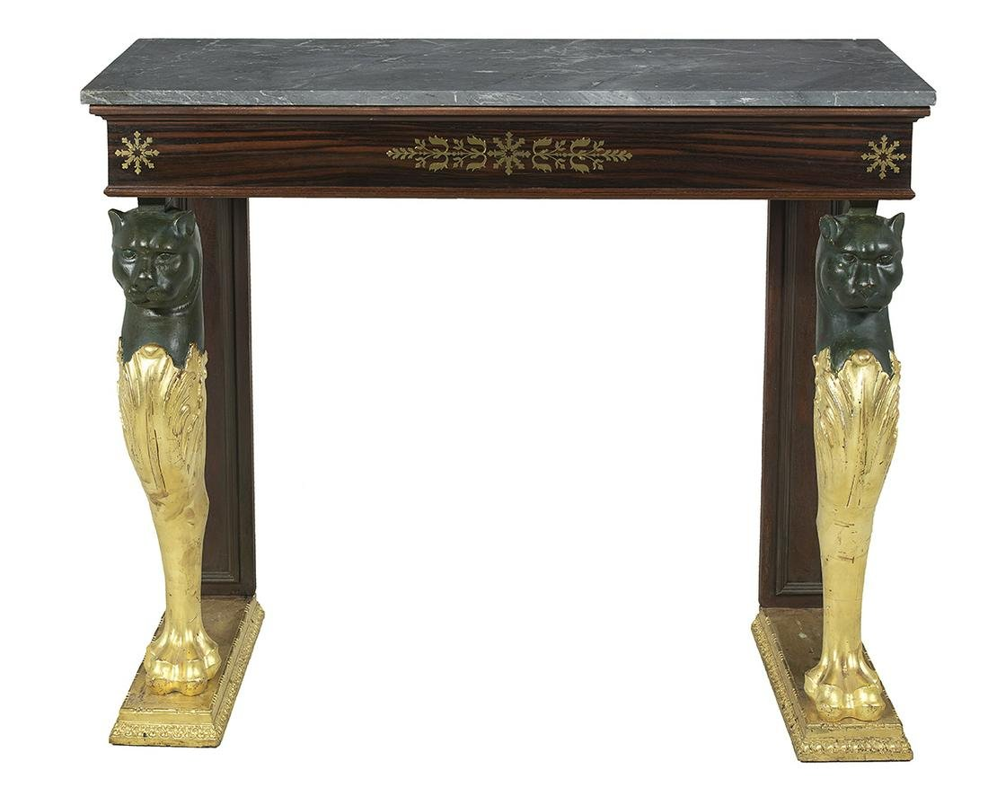 Regency Rosewood Marble-Top Side Table