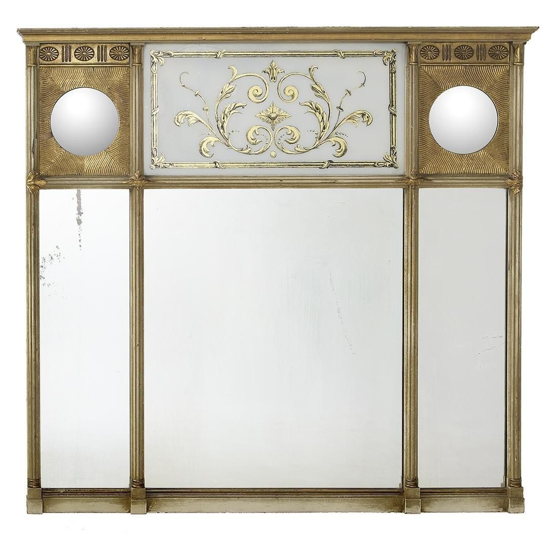 English Eglomise Overmantel Mirror