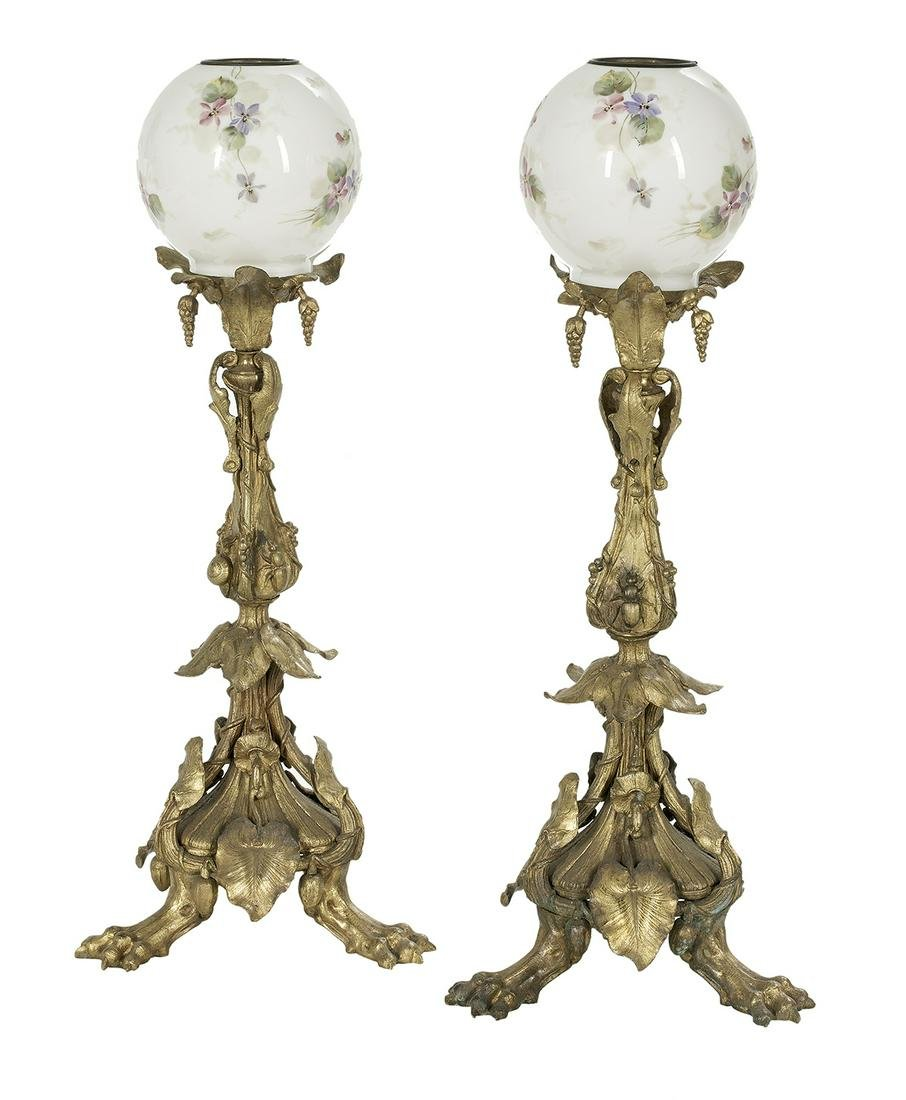 Pair of English Rococo Revival Lamp Standards