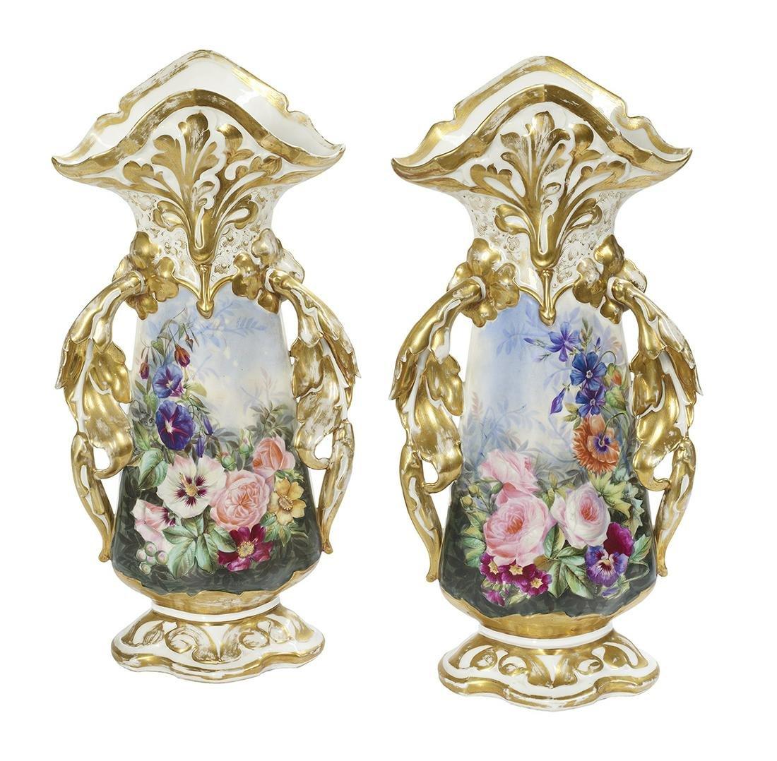 Pair of Franco-Bohemian Porcelain Fan Vases