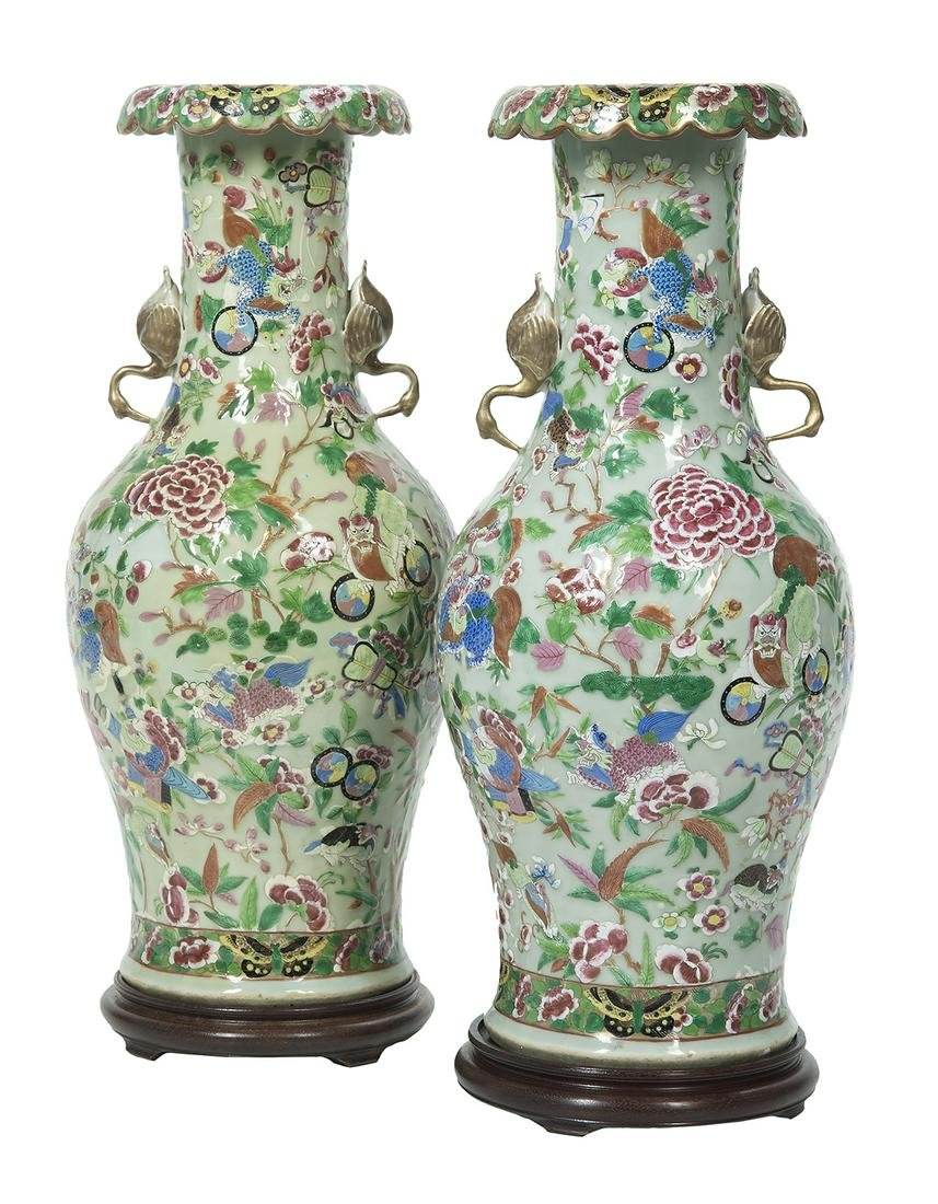 Pair of Unusual Chinese Export Porcelain Vases