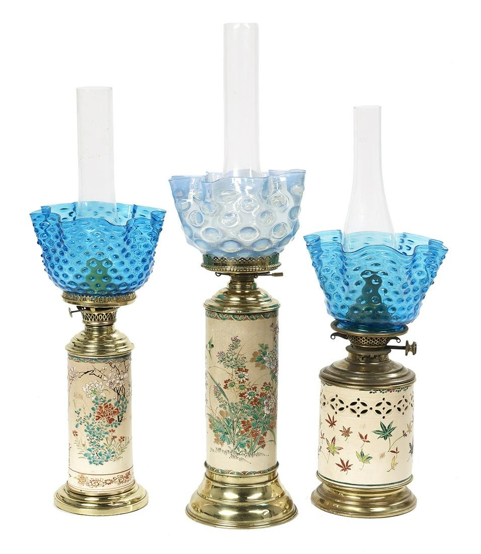 3 French Longwy Pottery and Brass Banquet Lamps