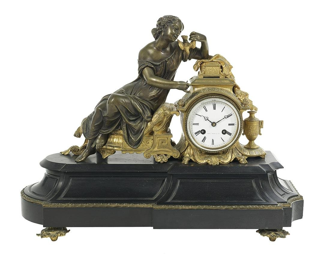 Bronze and Marble Figural Mantel Clock