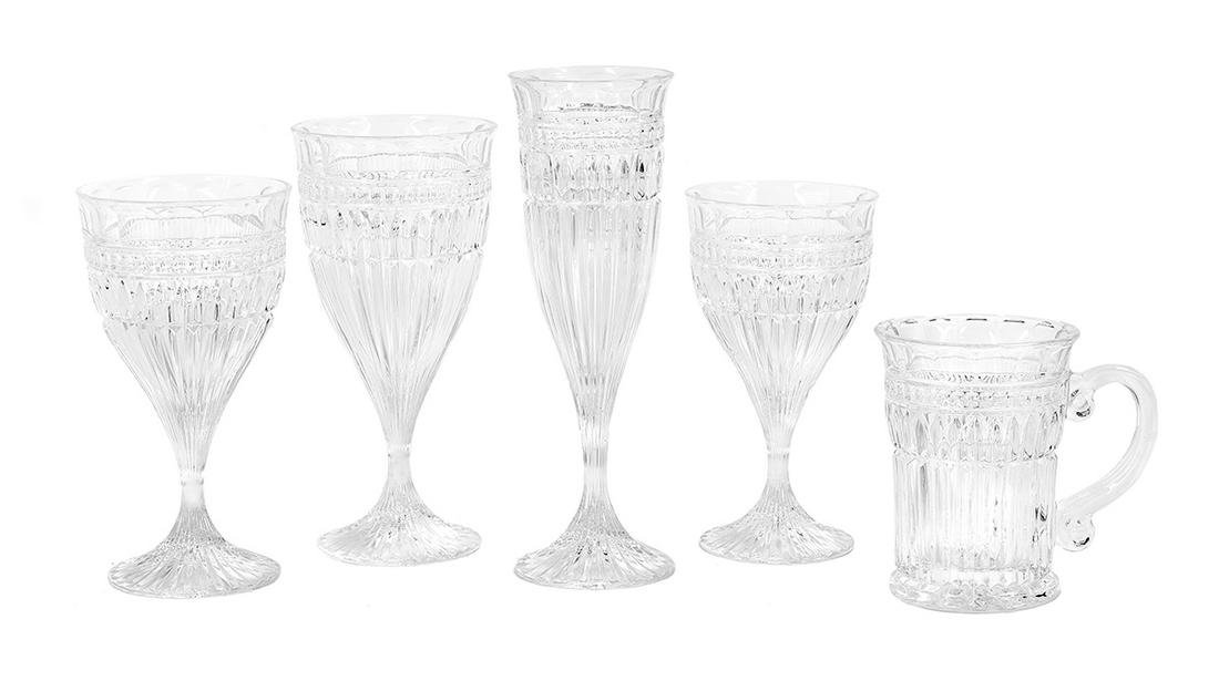 Fifty-Piece Collection of Molded Crystal Stemware
