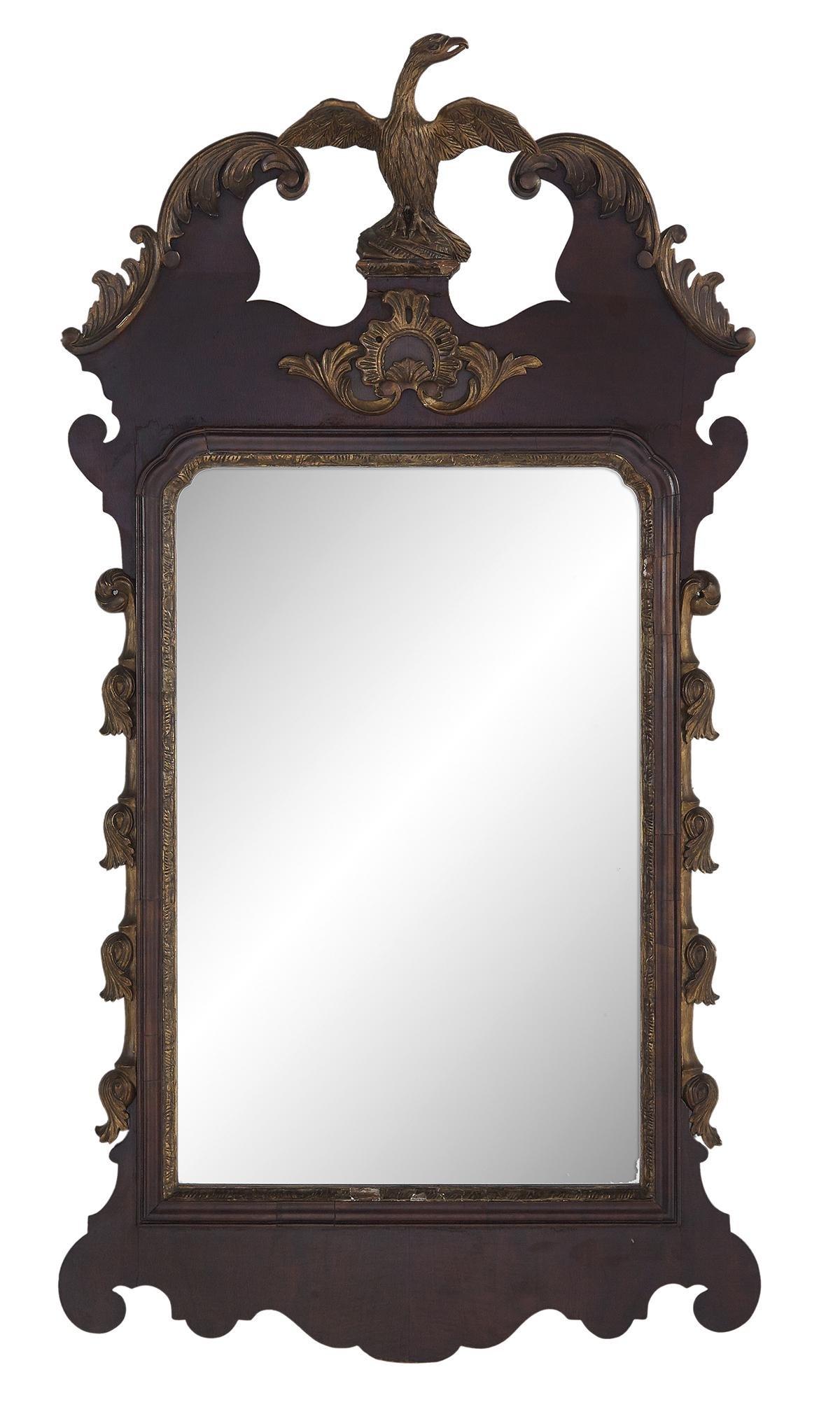 Colonial Revival Mahogany and Giltwood Mirror