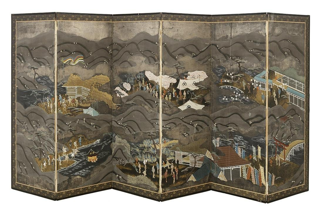 Japanese Six-Panel Floor Screen