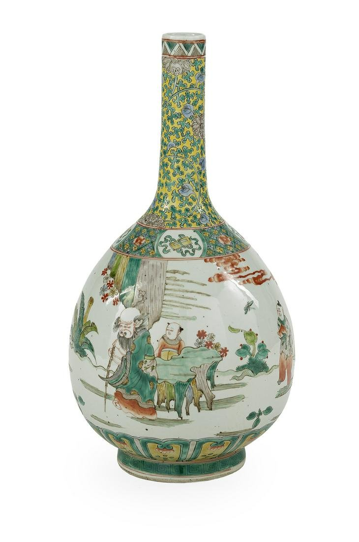 Chinese Famille Verte Porcelain Bottle Vase