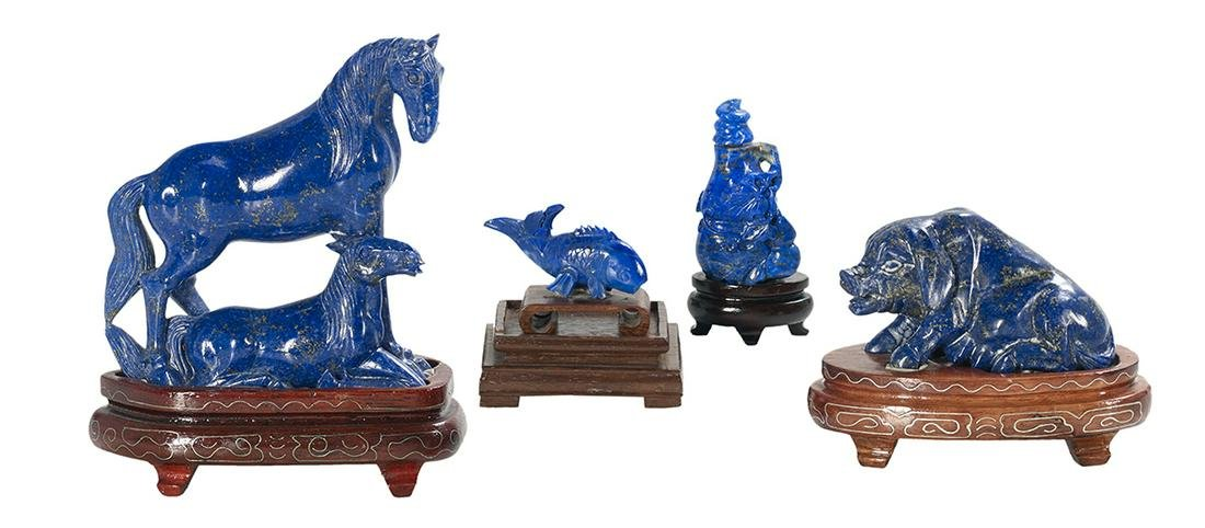 Four Asian Lapis Lazuli Carvings on Stands