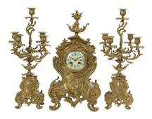 ThreePiece Louis XVStyle GiltBronze Clock Set