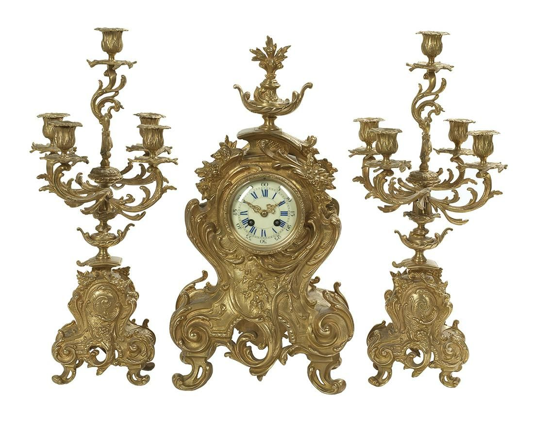 Three-Piece Louis XV-Style Gilt-Bronze Clock Set