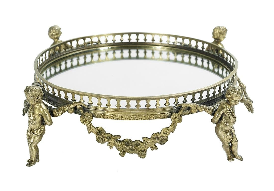 French Molded Bronze and Mirrored Plateau