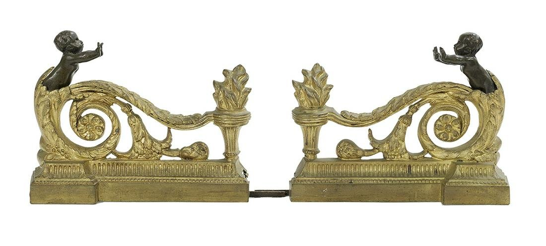 Pair of Gilt and Patinated Bronze Figural Chenets