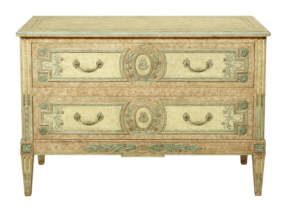Louis XVI-Style Polychrome Two-Drawer Commode