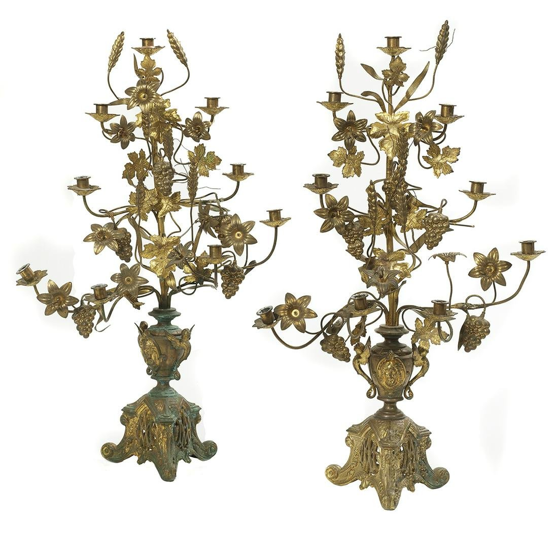Pair of Continental Gilt-Tole & Brass Candelabra
