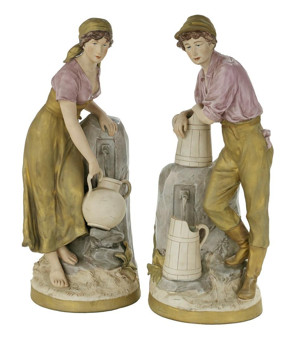 Pair of Royal Dux Porcelain Figures