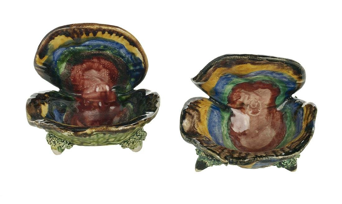 Pair of Majolica Oyster-Form Dishes