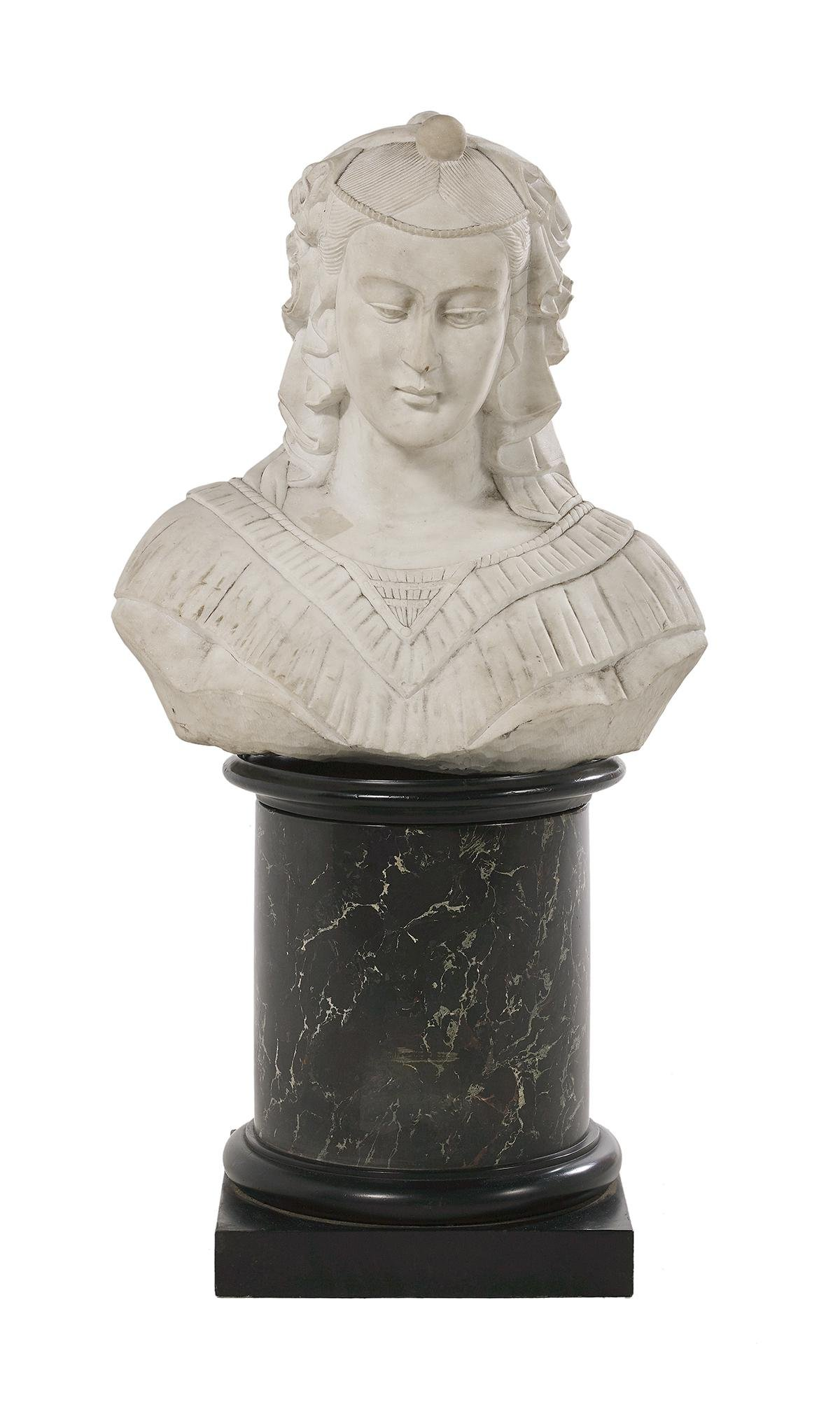 Italian Carved Marble Bust of a Woman