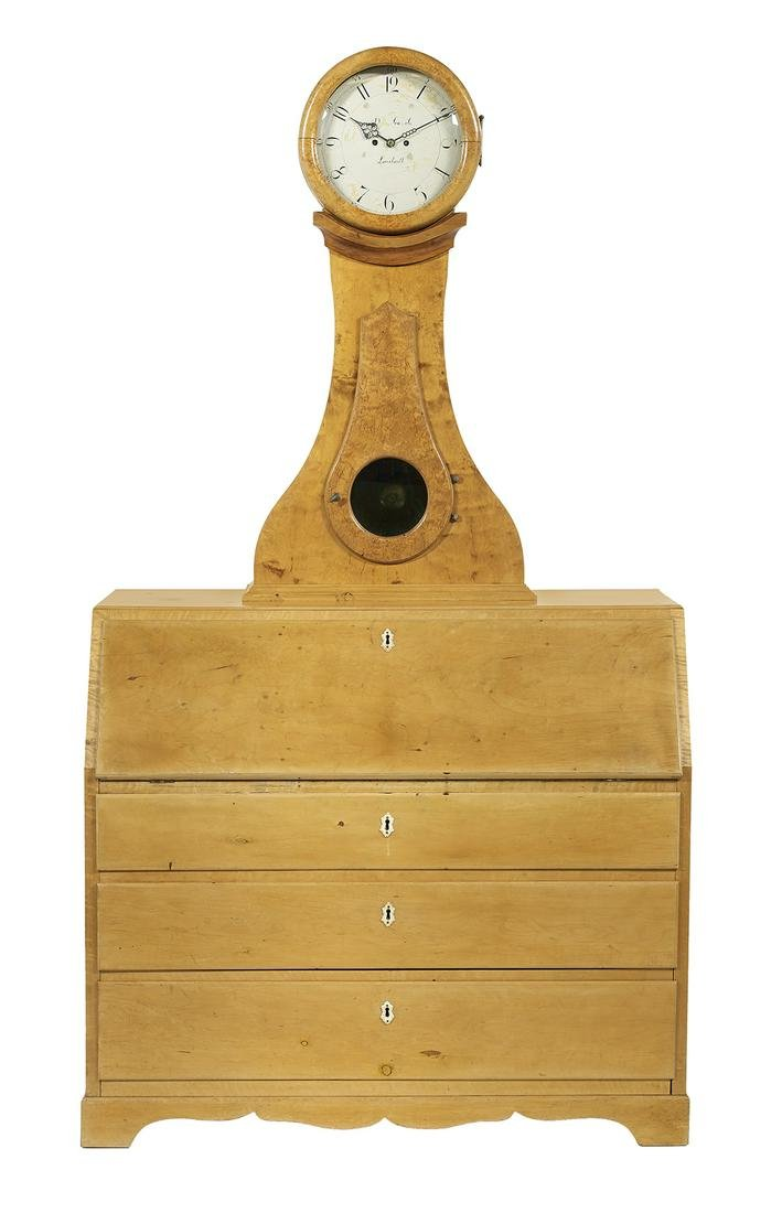 Swedish Neoclassical Satin Birch Slant-Lid Desk