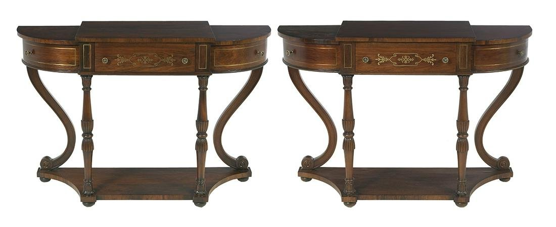 Pair of Regency-Style Rosewood Console Tables