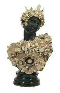 Shell-Encrusted Ebonized Cast Stone Bust