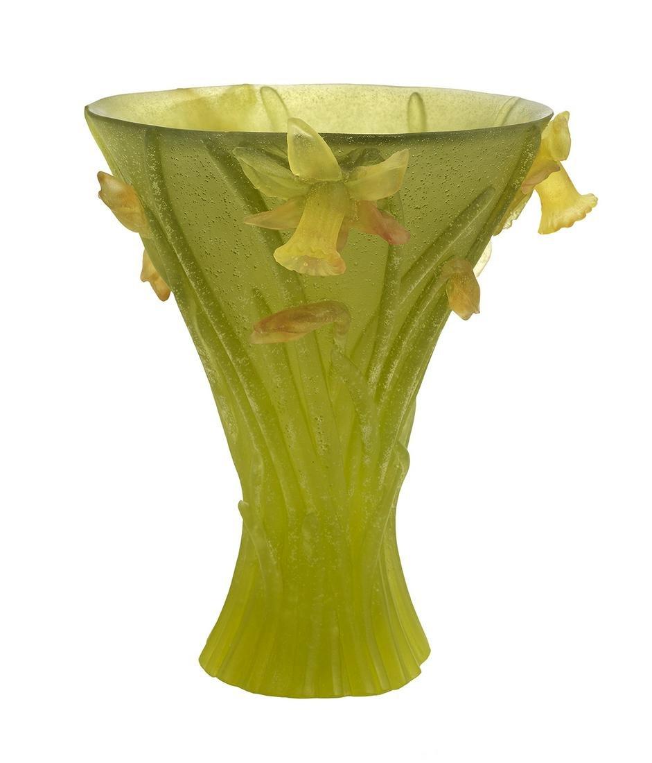 """French Daum Pate de Verre """"Jonquilles"""" Vase"""