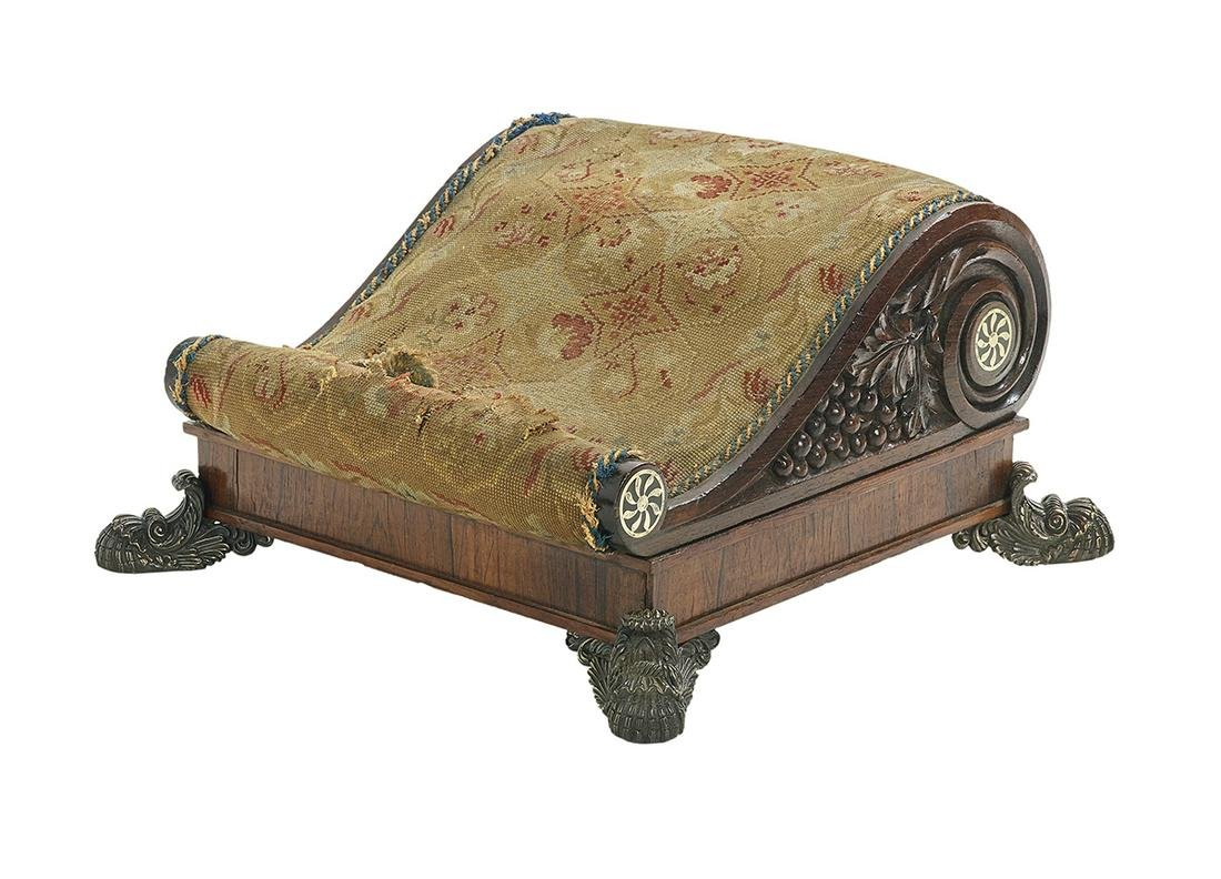Rare Classical Rosewood and Brass-Mounted Stool