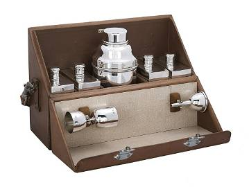 Fine Dunhill Silverplate Traveling Cocktail Set