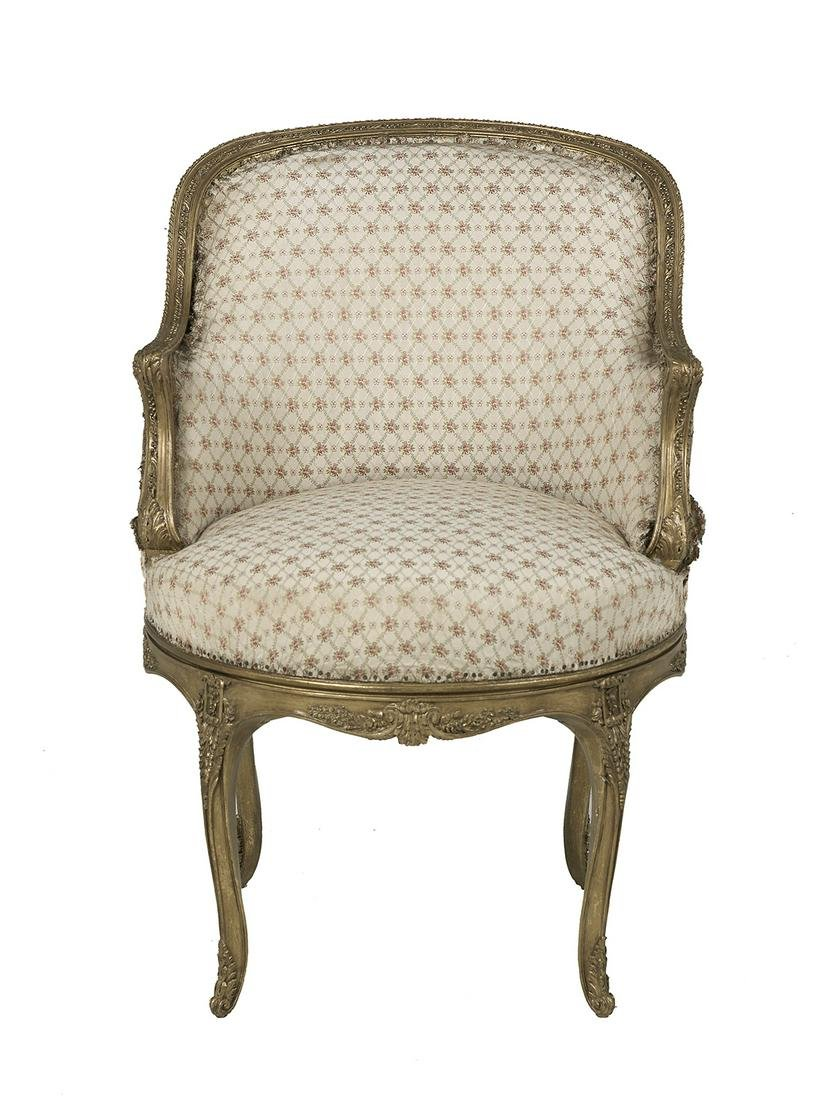 Louis XV-Style Giltwood Armchair
