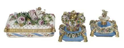 Three Jacob Petit Paris Porcelain Objects