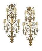 Pair of Italian Painted Metal and Wood Sconces