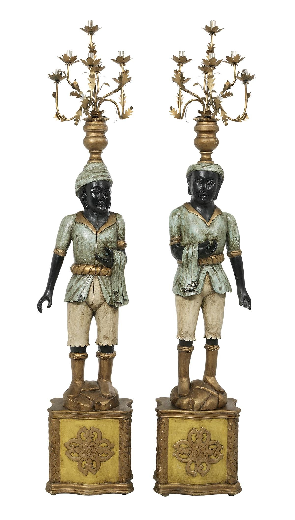Balinese-Style Painted & Metal Figural Torcheres