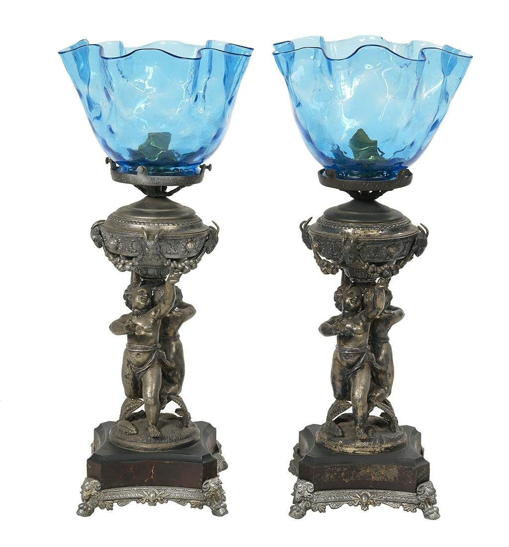 Pair of Neoclassical Silvered Metal Table Lamps