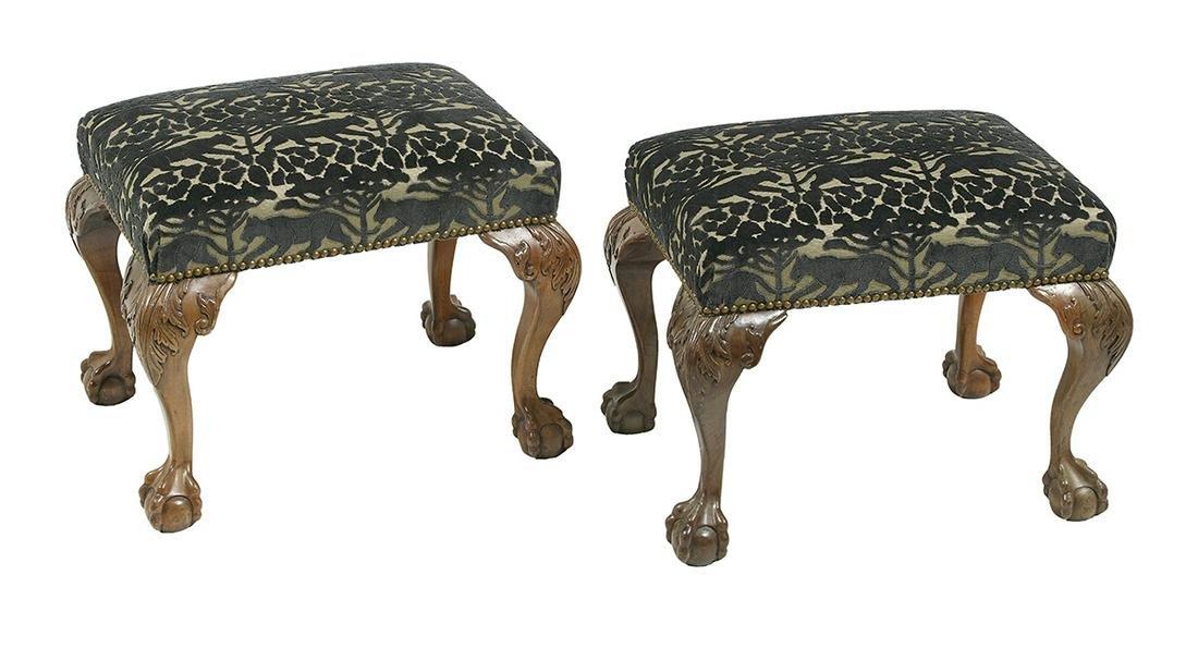 Pair of George III-Style Mahogany Stools