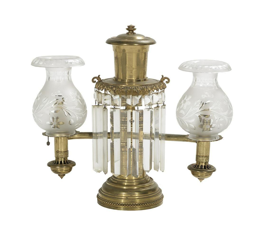 New York-Retailed English Brass Argand Lamp