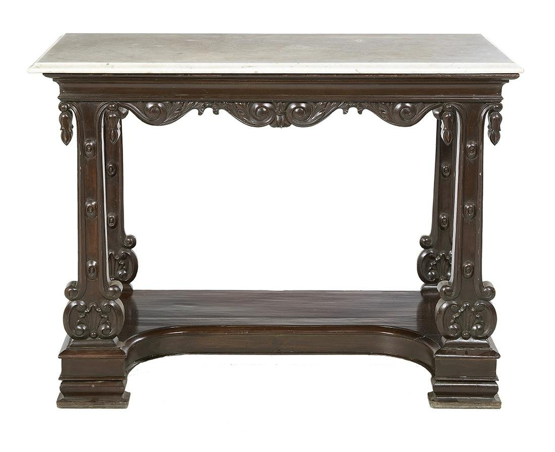 American Classical Marble-Top Pier Table