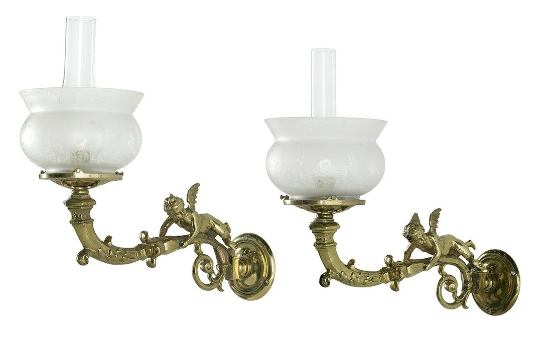 Pair of Rococo Revival-Style Cast Brass Sconces