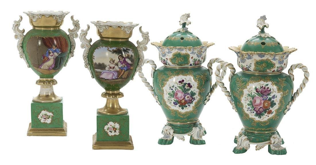 Paris Porcelain Vases Attributed to Jacob Petit