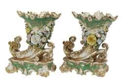 Pair of Jacob Petit Porcelain Rhyton-Form Vases