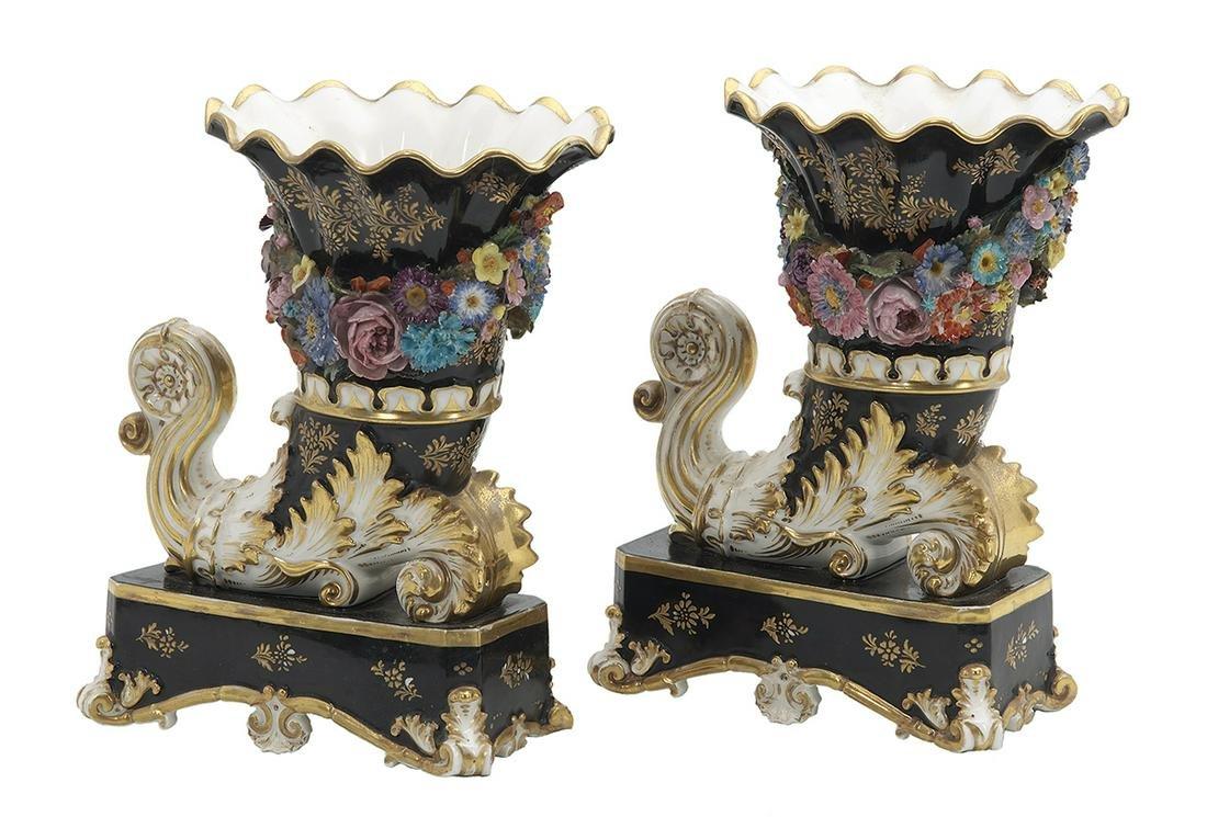 Jacob Petit Paris Porcelain Rhyton-Form Vases