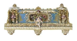 Large Jacob Petit Paris Porcelain Figural Encrier