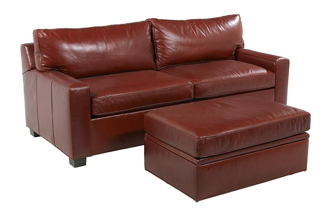 Contemporary Red Leather Sleeper Sofa and Ottoman