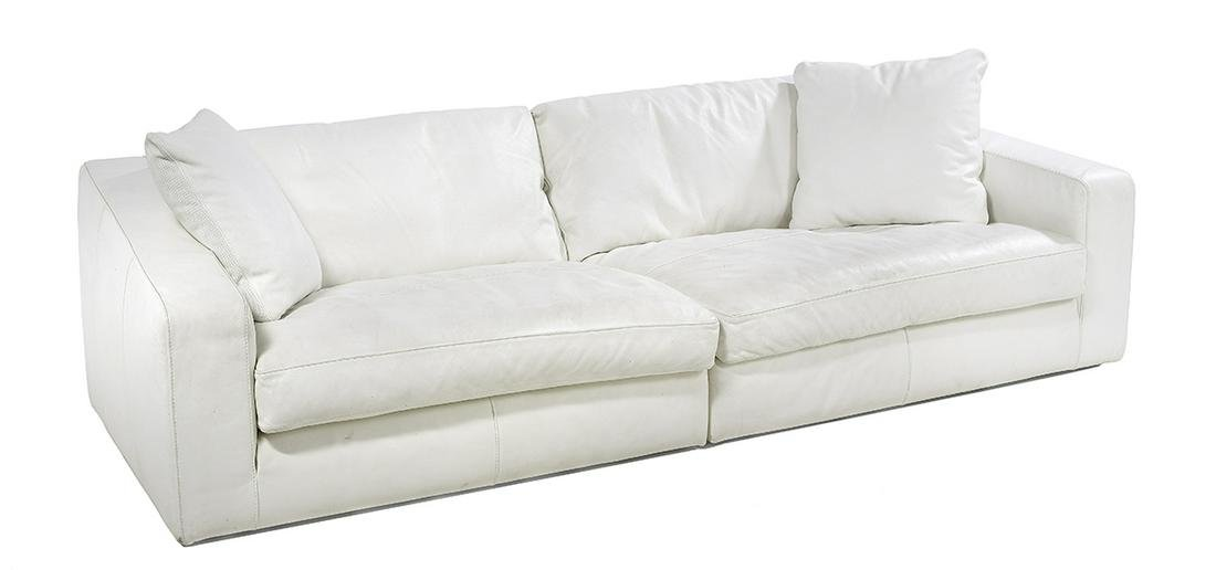 Frighetto White Leather Sectional Sofa & Pillows