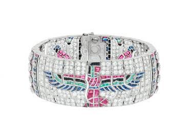Art Deco Egyptian Revival Gem-Set Bracelet
