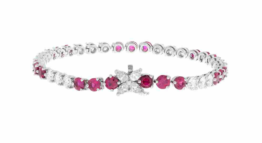 "Tiffany & Co. ""Victoria"" Diamond & Ruby Bracelet"