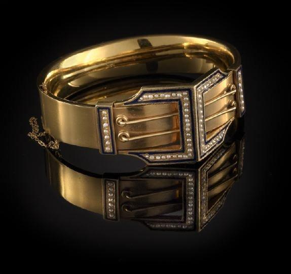845: 14 Kt. Gold, Enamel and Pearl Bangle Bracelet