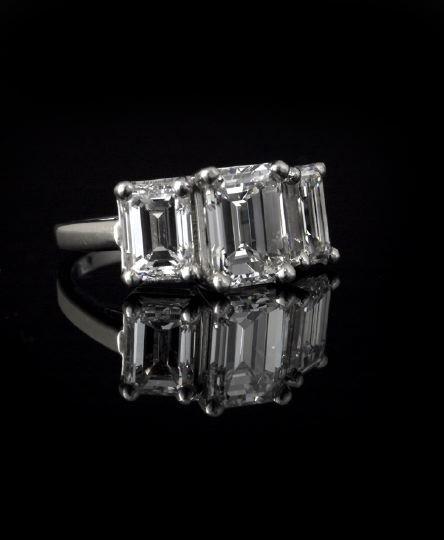 859: Plat. and Diamond Lady's Three-Stone Ring