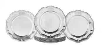 Twelve George II Sterling Silver Service Plates
